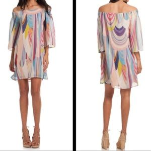 Trina Turk Rainbow Colored off the Shoulder Dress